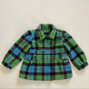 Baby GAP Wool Plaid Pea Coat Green Blue Toddler 3T